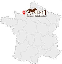 Carte de France png + icon vous êtes ici + logo de l'entreprise Cloture Bois Boscher à MOYAUX 14590 Normandie France
